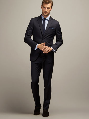 REGULAR FIT TEXTURED WEAVE WOOL SUIT TROUSERS