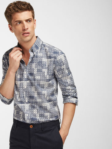 SLIM FIT PATCHWORK PRINT SHIRT