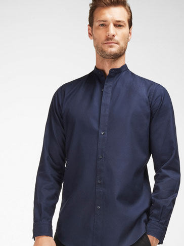 SLIM FIT MANDARIN COLLAR SHIRT