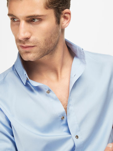 LIGHT BLUE SLIM FIT SHIRT WITH ELBOW PATCHES