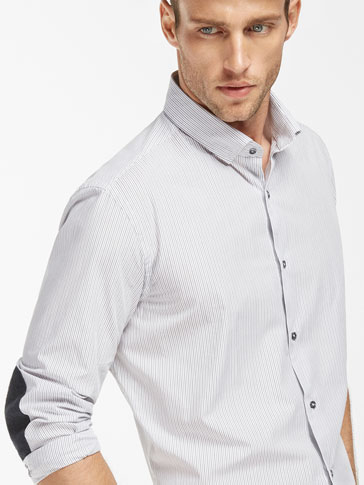SLIM FIT PINSTRIPE SHIRT WITH HERRINGBONE ELBOW PATCHES