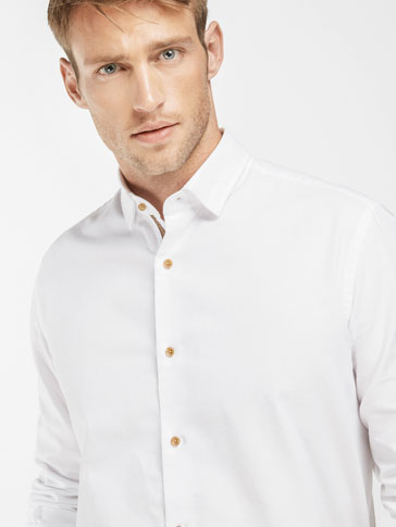 SLIM FIT WHITE SHIRT WITH TRIBAL PLACKET