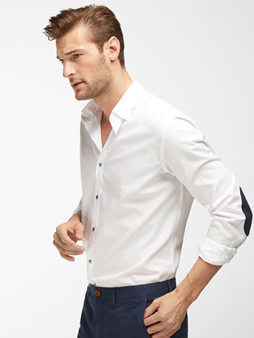 SLIM FIT PLAIN SHIRT WITH BLUE ELBOW PATCHES