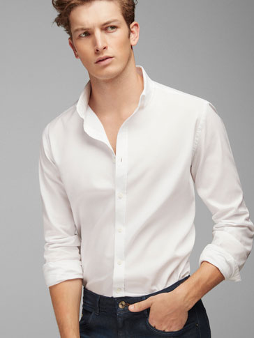 WHITE SLIM-FIT SHIRT WITH BLUE ELBOW PATCHES