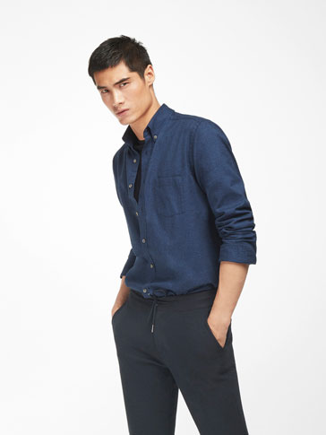 PLAIN BLUE SLIM SHIRT
