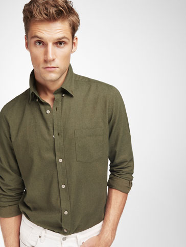 SLIM FIT GREEN SHIRT WITH ELBOW PATCH DETAIL