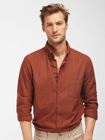 PLAIN BROWN SLIM-FIT SHIRT