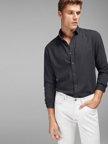 PLAIN BLACK SLIM FIT SHIRT
