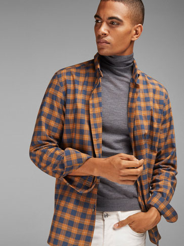 MUSTARD CHECKED SLIM FIT SHIRT WITH A BLUE BACKGROUND