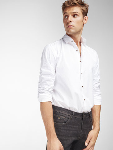 SLIM FIT WHITE SHIRT WITH TORTOISESHELL BUTTONS