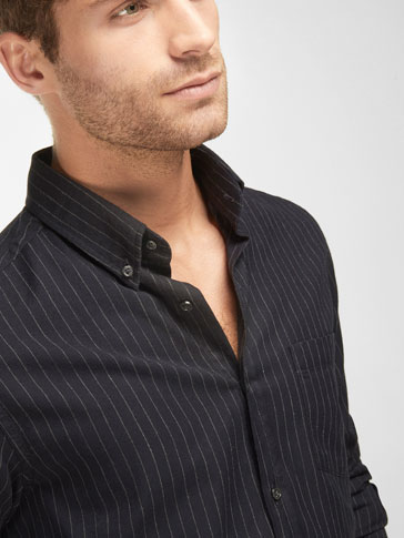 NAVY PINSTRIPE SLIM-FIT SHIRT