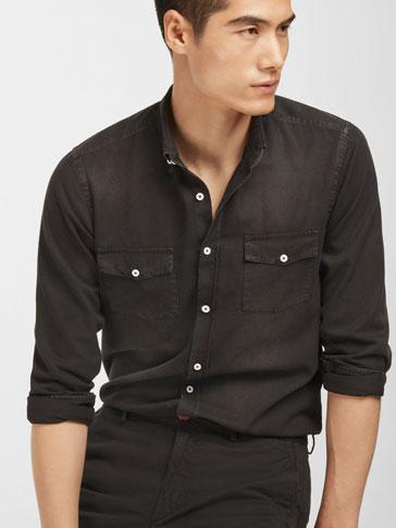 SLIM BLACK DENIM SHIRT