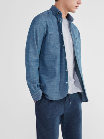 SOFT DENIM-STYLE TEXTURED SHIRT