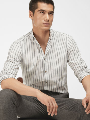SLIM FIL COUPÉ TRIBAL STRIPE SHIRT