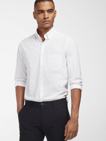 PLAIN SLIM-FIT SHIRT WITH POCKET DETAIL