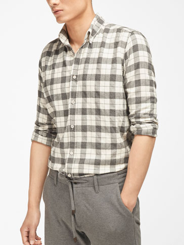 CHECKED SHIRT WITH HERRINGBONE DETAIL