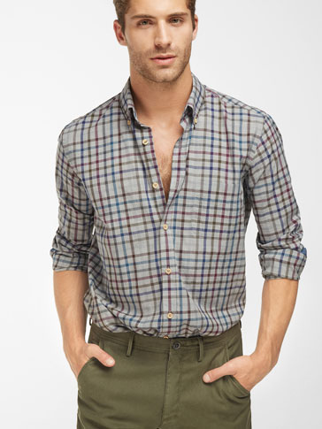 GREY SHIRT WITH COLOURFUL CHECKS
