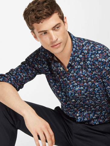 SLIM FIT FLORAL PRINT SHIRT