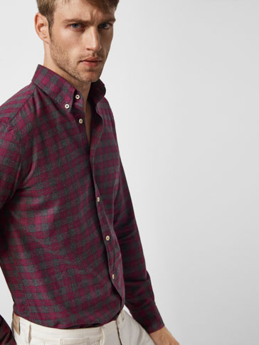 GREY AND PURPLE CHECKED SHIRT