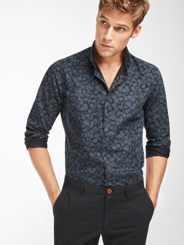SLIM FIT FLORAL PRINT BLACK SHIRT