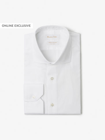SLIM FIT PLAIN TEXTURED WEAVE SHIRT