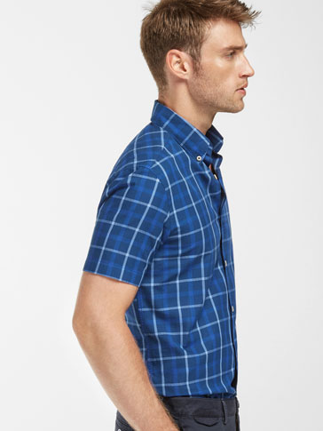 SLIM FIT BLUE CHECKED SHIRT