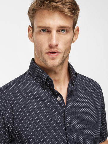 SLIM FIT NAVY BLUE SHIRT WITH POLKA DOT DETAIL