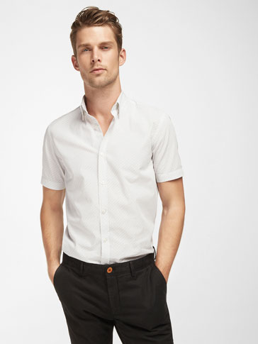 SLIM FIT WHITE SHIRT WITH TWO TONE POLKA DOTS