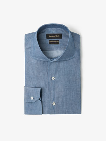 PLAIN DENIM SLIM SHIRT