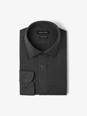 SLIM FIT PLAIN CIRCULAR KNIT SHIRT