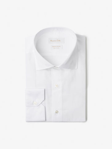 SLIM FIT FALSE PLAIN TEXTURED WEAVE SHIRT