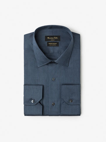 SLIM FIT PLAIN MELANGE SHIRT
