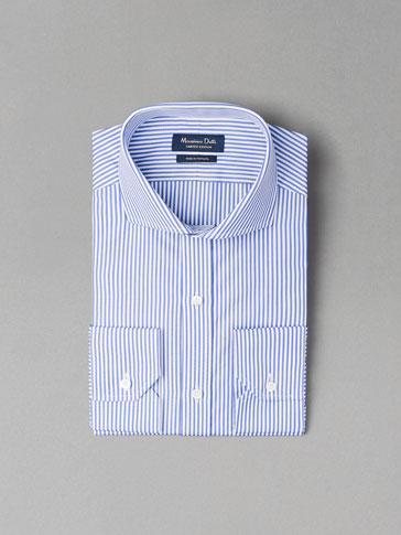 قميص بخط مزدوج أزرق PERSONAL TAILORING