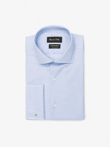 FALSE PLAIN DETAIL SLIM-FIT SHIRT WITH DOUBLE CUFFS