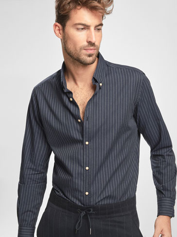SLIM FIT NAVY BLUE STRIPED SHIRT