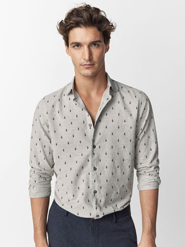 SLIM FIT GREY FEATHER PRINT SHIRT