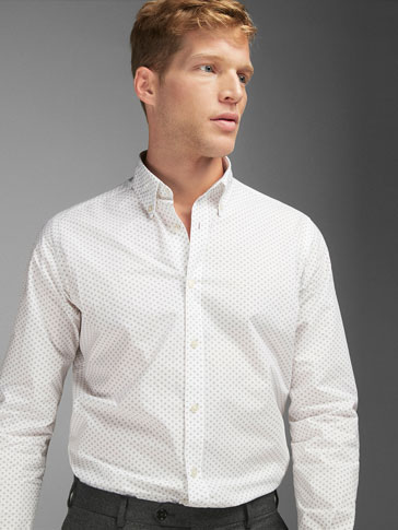 WHITE SLIM FIT CHECK PRINT SHIRT