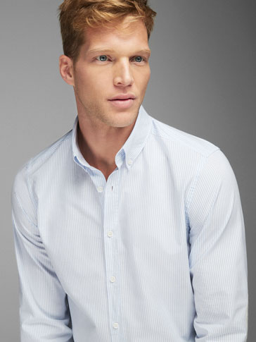 STRIPED SLIM FIT SHIRT WITH ELBOW PATCHES