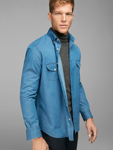 CAMISA DENIM DOBLE BOLSILLO SLIM