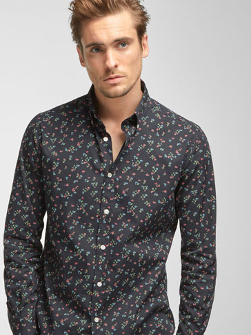 SLIM FIT FLORAL PRINT MULTICOLOURED SHIRT
