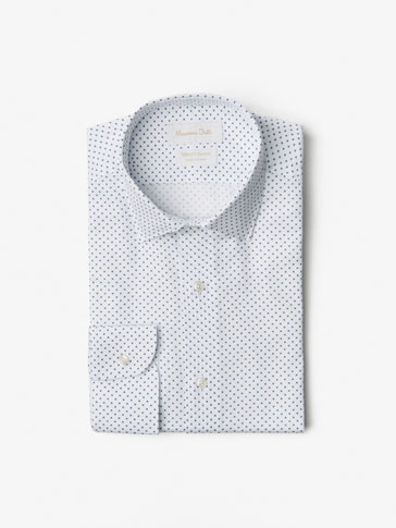 SLIM FIT PRINTED MICRO-TEXTURE WEAVE SHIRT