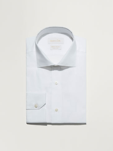 WHITE SLIM-FIT TWILL SHIRT