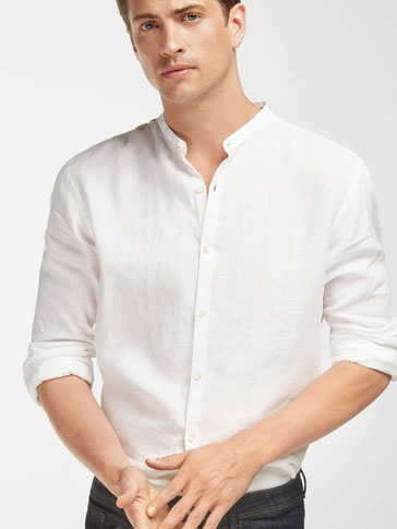 LINEN SHIRT WITH ELBOW PATCH DETAIL