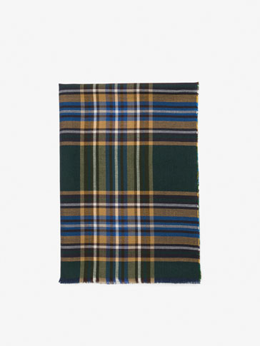 GREEN CHECKED WOOLLEN SCARF