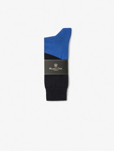 BRUSHED COTTON SOCKS WITH CENTRAL STRIPE DETAIL