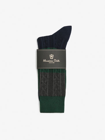 BRUSHED COTTON SOCKS WITH BRAIDED DETAIL