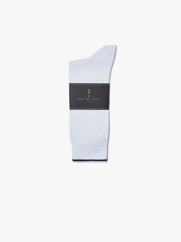 BRUSHED COTTON SOCKS WITH SOFT CONTRASTING DETAIL