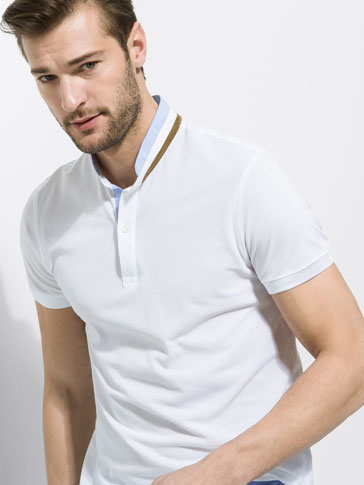 CONTRAST MANDARIN COLLAR POLO SHIRT
