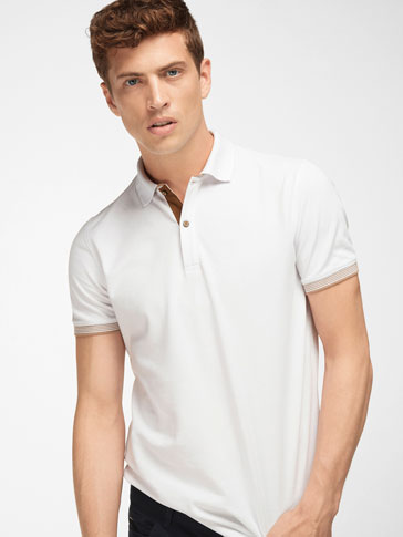 CONTRAST POLO WITH MOCK LAYER COLLAR