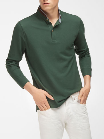 CONTRAST POLO WITH MANDARIN COLLAR